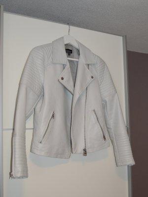 Topshop Giacca in pelle bianco-grigio chiaro