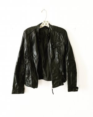lederjacke • vegan leather • schwarz • vintage