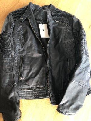 7 For All Mankind Veste en cuir noir