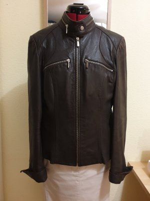 ARMA Veste en cuir brun noir-brun foncé