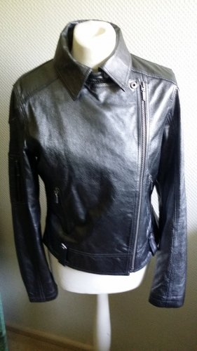 David Moore Leather Jacket silver-colored-dark grey leather