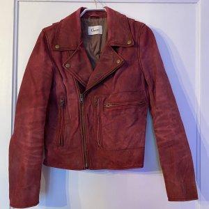 Ganni Leather Jacket bordeaux