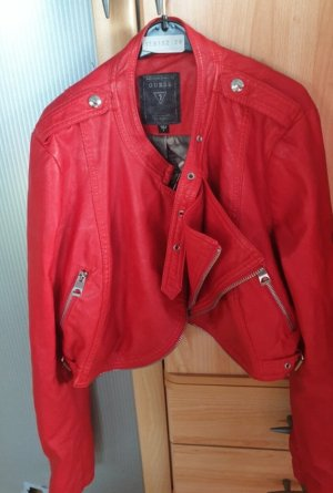 Guess Leather Jacket red