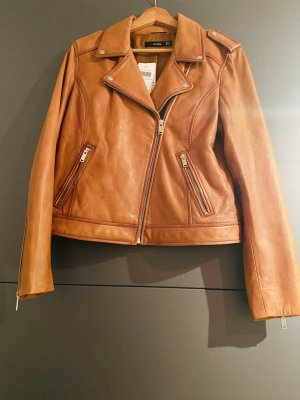 Hallhuber Leather Jacket cognac-coloured
