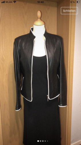 Joy Leather Jacket black-white leather