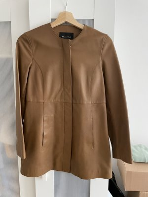 Massimo Dutti Leather Coat brown