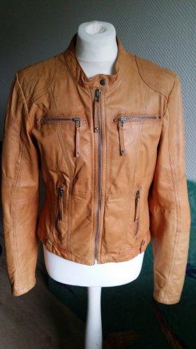 Peckott Leather Jacket cognac-coloured