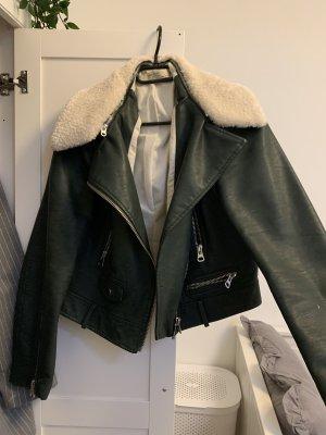 Zara Kurtka z imitacji skóry khaki-zielono-szary