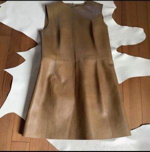 Celine Paris Robe en cuir brun cuir