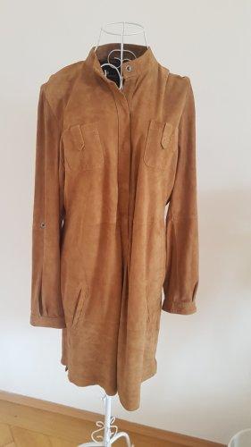 Goosecraft Vestido de cuero marrón arena-camel