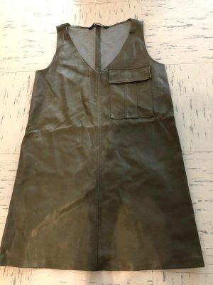 Zara Vestido de cuero gris verdoso
