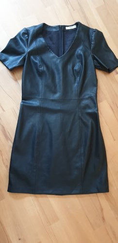 Mango Robe en cuir noir