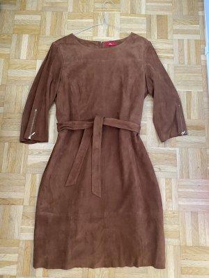 s.Oliver Leather Dress cognac-coloured