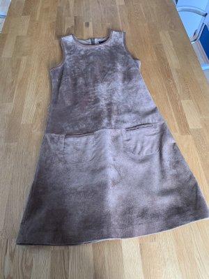 Hallhuber Robe en cuir marron clair cuir