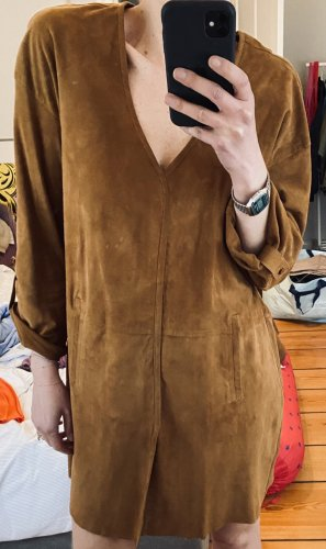 Skórzana sukienka brązowy