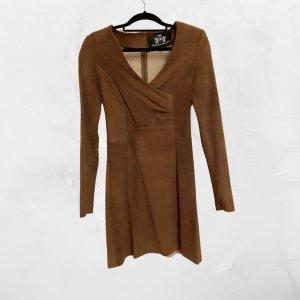 Robe en cuir brun