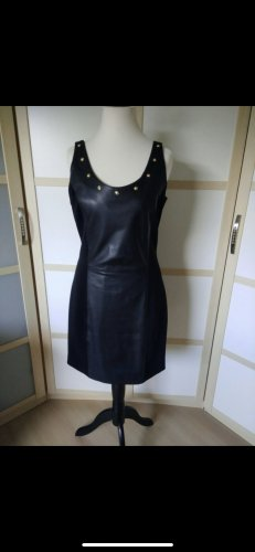 Versace Vestido de cuero negro Cuero