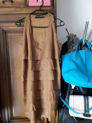 Zara Women Skórzana sukienka brąz