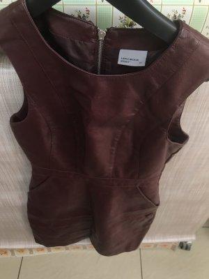 Vero Moda Vestito in pelle marrone-rosso-bordeaux