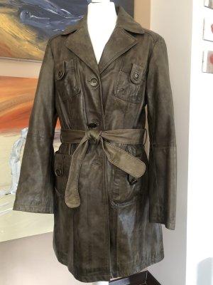 Heine Abrigo de cuero marrón grisáceo