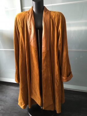 Leather Coat bronze-colored-cognac-coloured leather