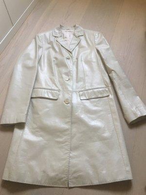 Offset Short Coat oatmeal-light grey leather