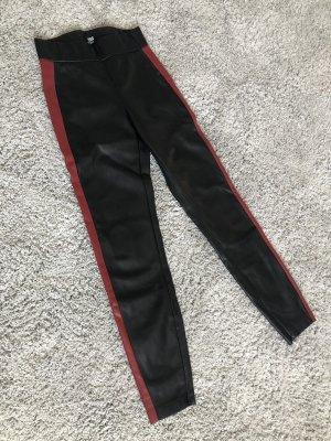 Zara Pantalon en cuir noir-bordeau