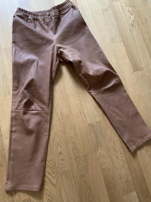 ARMA Pantalón de cuero coñac-marrón claro