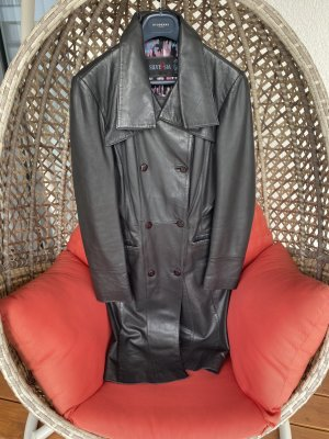 Leather Coat anthracite-black leather