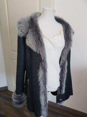 CPL Manteau en cuir noir-argenté