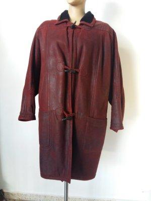 Manteau en cuir violet-noir cuir