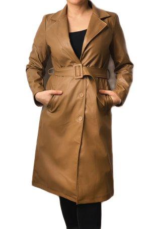 New collecttion Abrigo de cuero marrón-marrón claro