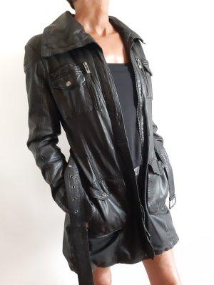 Maze Manteau en cuir noir