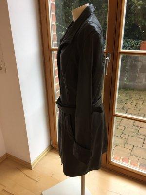 Manteau en cuir brun noir