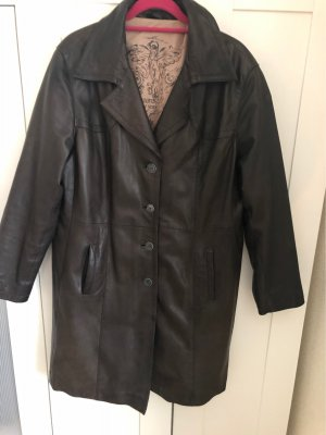 David Moore Manteau en cuir brun noir
