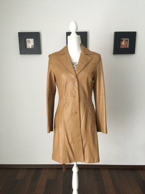 Mango Leather Coat beige-camel leather