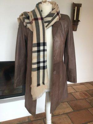 Vera Pelle Leather Coat light brown-grey brown