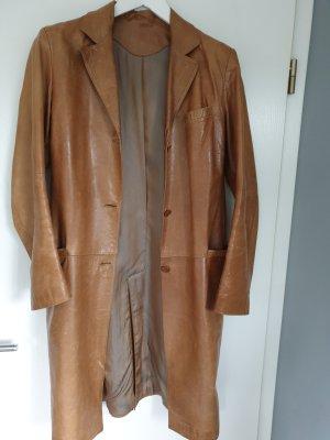Skórzany płaszcz brązowy-cognac Skóra