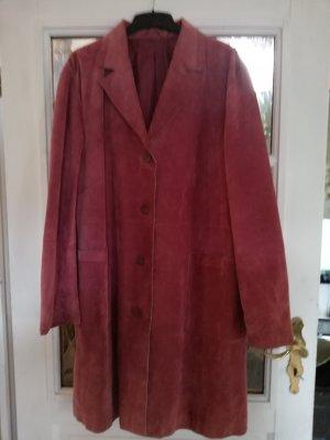 Skórzany płaszcz w kolorze różowego złota-stary róż