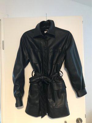 H&M Manteau en cuir noir