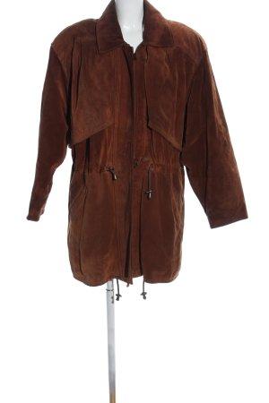 Skórzany płaszcz brązowy W stylu biznesowym