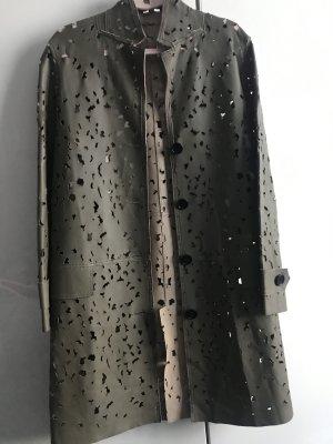 Abrigo de cuero gris verdoso Cuero