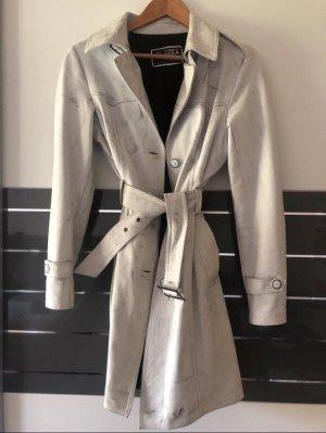 Vera Pelle Manteau en cuir noir-blanc
