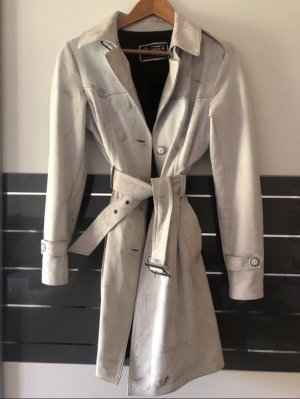 Vera Pelle Leather Coat black-white