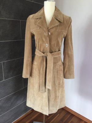 Hallhuber trend Skórzany płaszcz jasnobeżowy