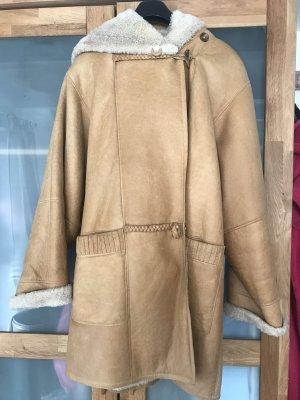 Abrigo de cuero marrón-marrón claro