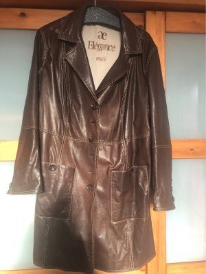 ae elegance Leather Coat dark brown leather