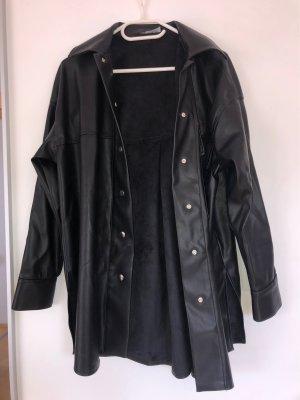 Zara Skórzany płaszcz czarny