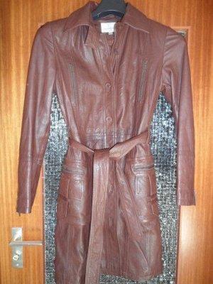 Peek & Cloppenburg Leather Coat brown-cognac-coloured leather