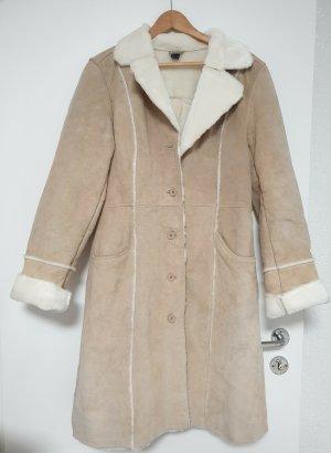 Manteau en cuir crème-marron clair cuir